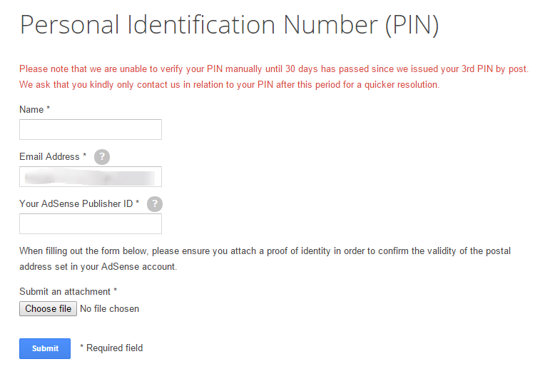 Personal Identification Number (PIN) Verification Form