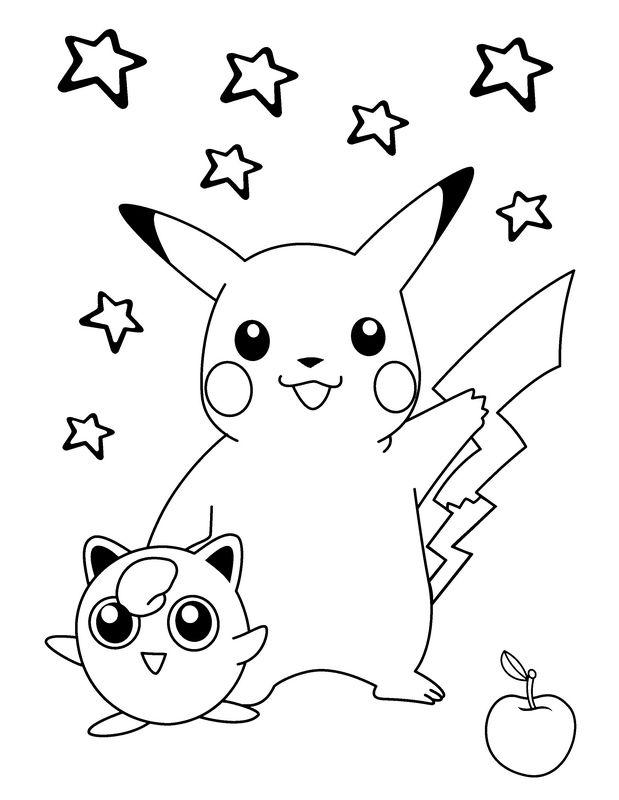 pokemon ausmalbilder pikachu und evoli  kinder ausmalbilder