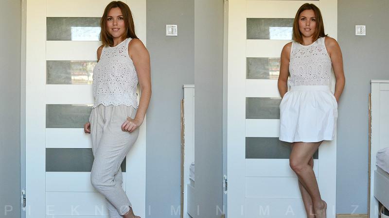 lniane spodnie, biała spódniczka z czym nosić?