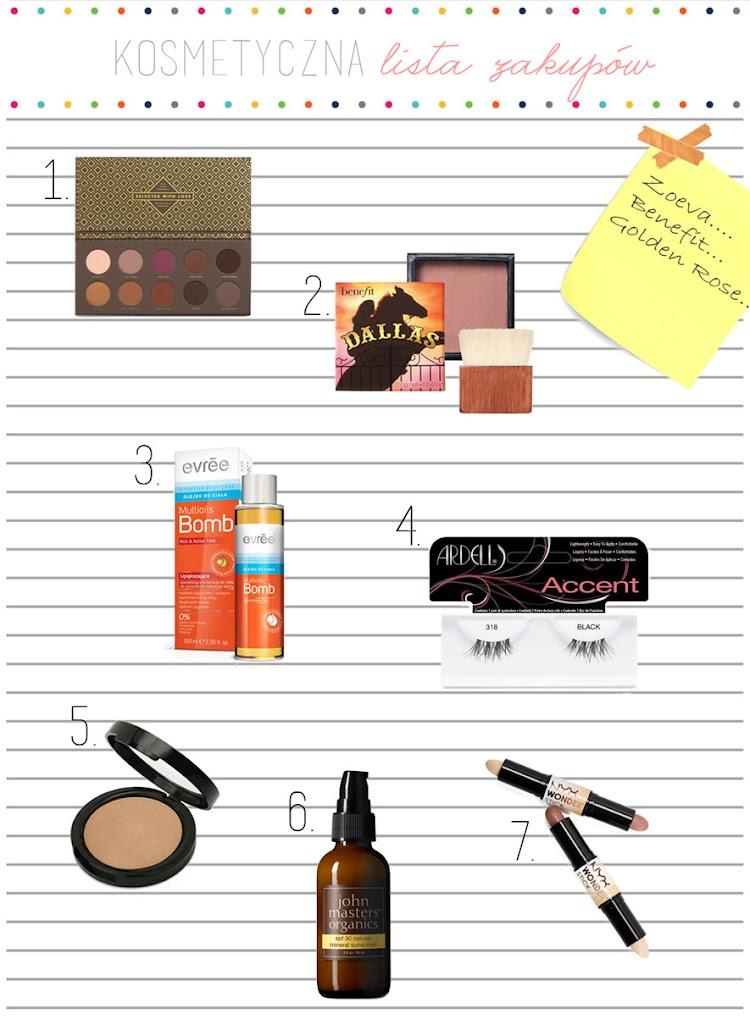 Kosmetyczna lista zakupów - paleta cieni, naturalny filtr UV, róż na lato, piękny bronzer, rzęsy, ołówek do konturowania i olejek - Czytaj więcej »