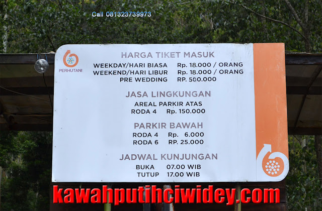 Kawah putih entrance fee oke