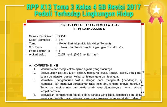 RPP K13 Tema 3 Kelas 4 SD Revisi 2017