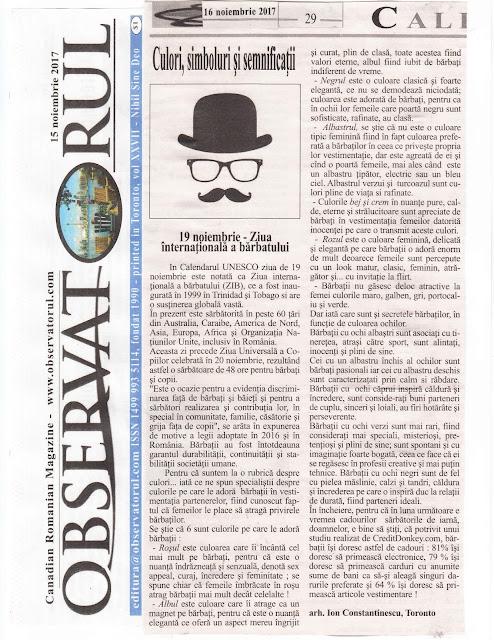 19 noiembrie - ZIUA INTERNAȚIONALĂ A BĂRBATULUI... Parada culorilor, magnet și eleganță