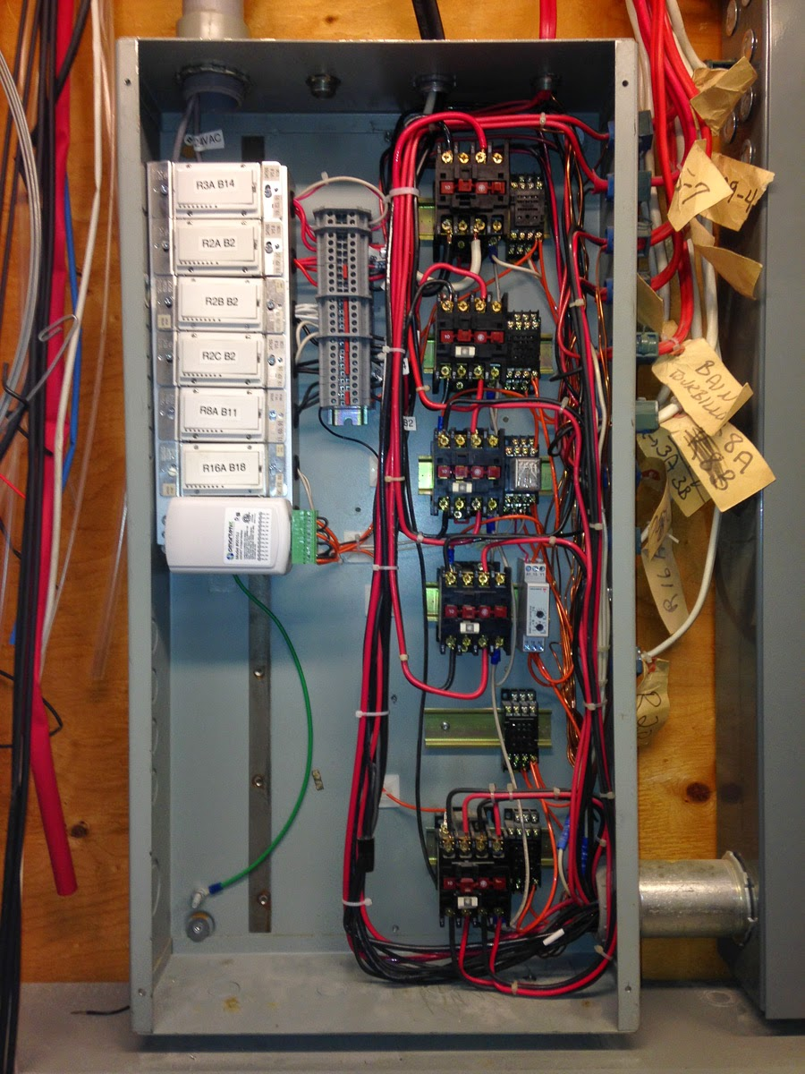 with 200a breaker panel circuit feeds enter through the nipple on the bottom right corner of the panel control wires enter in the top left  [ 900 x 1200 Pixel ]
