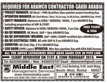REQUIRED FOR ARAMCO CONTRACTOR-SAUDI ARABIA