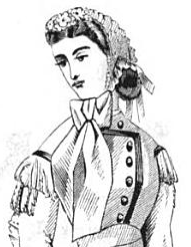 Fanchon bonnet in July 1865 issue of Peterson's Magazine