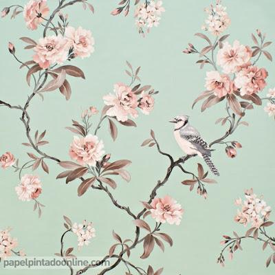 Papel Pintado Flores con Pajaros