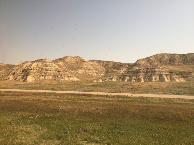 Stunning layers of the North Dakota Badlands captivate as we ride by on the Empire Builder.