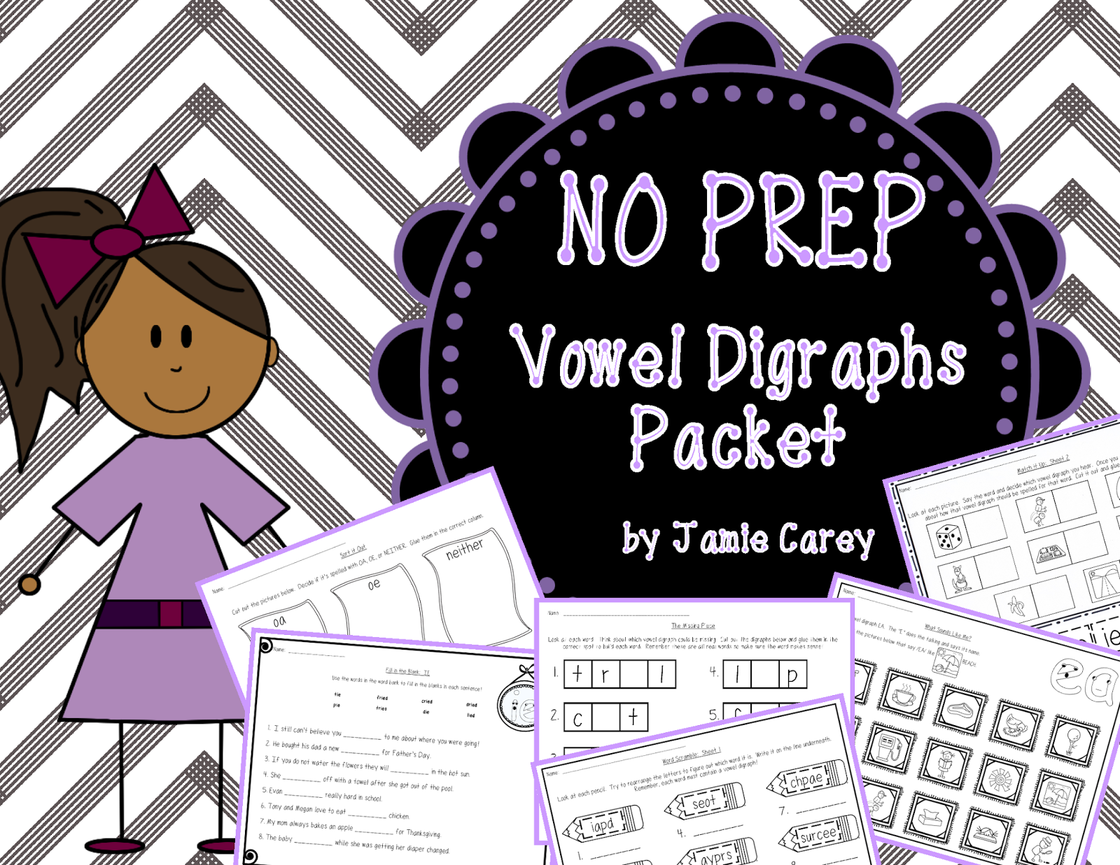 Busy Mama Amp Her Boys No Prep Vowel Digraphs Packet