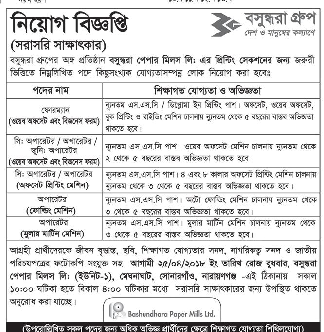 Bashundhara Multi Paper Industries and Bashundhara Paper Mills Limited Job Circular 2018