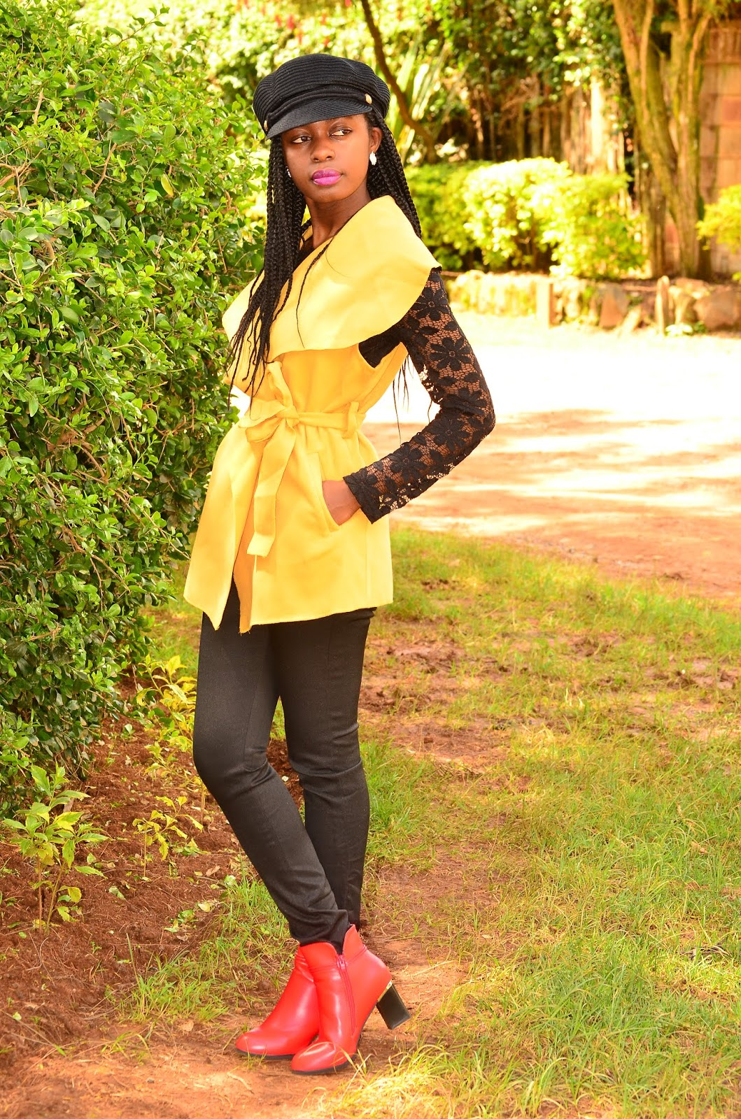 da933e11b6c How To Wear Yellow With A Red Ankle Boots Outfit