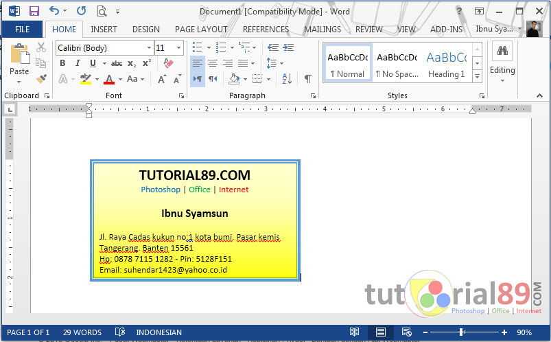 Cara Mudah Membuat Kartu Nama Di Microsoft Word Video Tutorial89