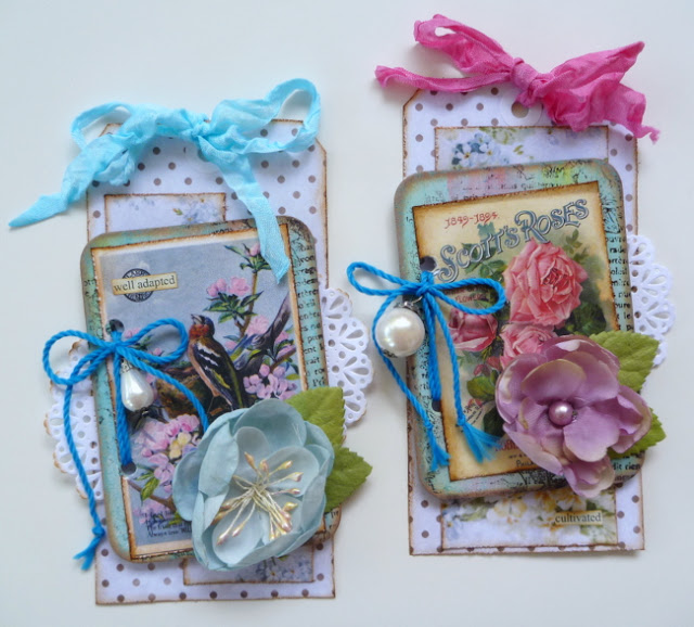 Blue and Pink Mixed Media Floral Tags by Dana Tatar for Inkido