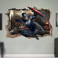 Vinilos de Super Héroes para decorar las paredes de la habitación de los niños CAPITAN AMERICA