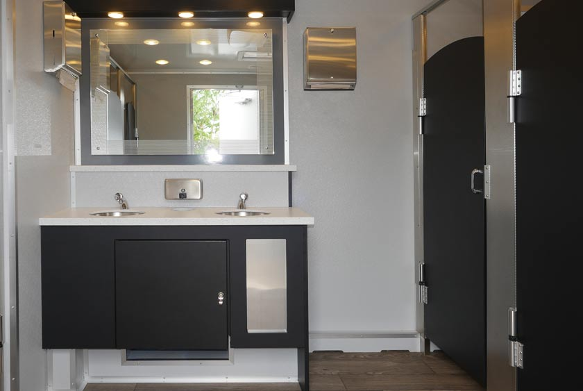 The Industrial Bathroom Trailer Rental Inside