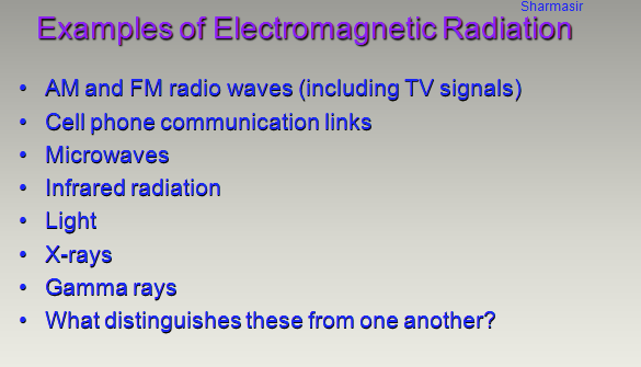 AM,FM,microwave,gamma rays,infra radiation,Radio wave ,electromagnetic radiation,modulation,