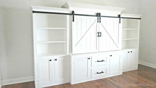 Sliding Barn Door White Entertainment Center Unit - Family and the Lake House - www.familyandthelakehouse.com