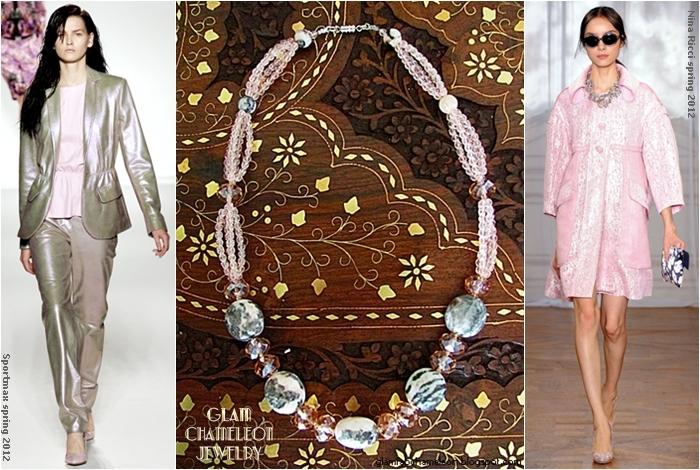 Glam Chameleon Jewelry zebra jasper pink brads pink crystals necklace