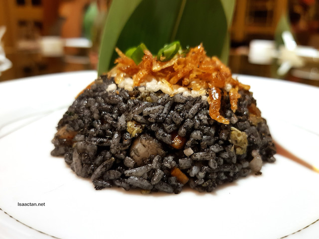 Sakura Prawn Fried Rice with Assorted Seafood and Crispy Rice in squid ink