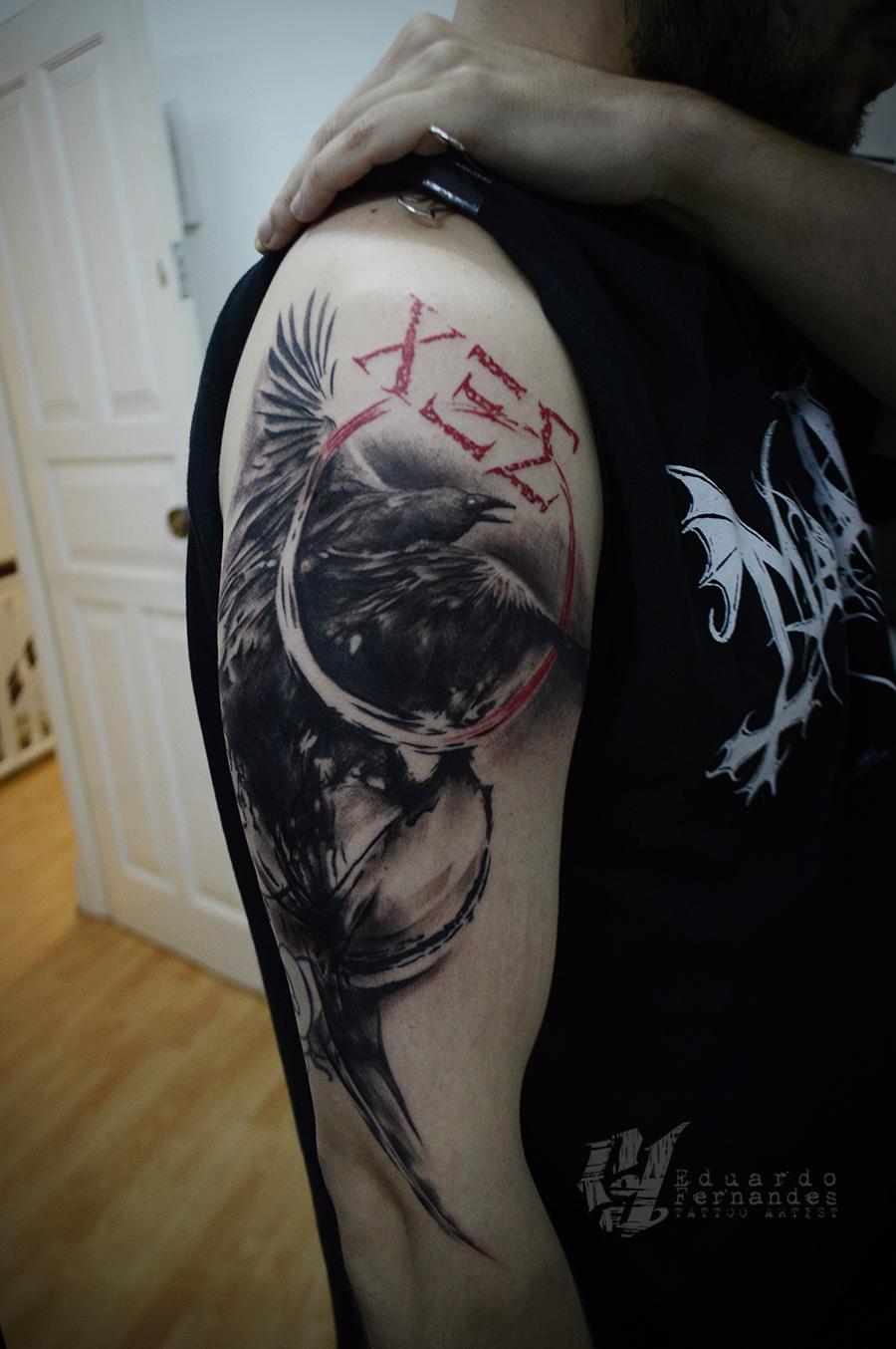 Raven Trash Polka Tattoo | Tattoos Eduardo Fernandes