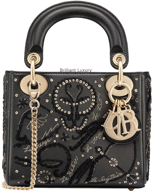 Brilliant Luxury♦Lady Dior bag, black smooth calfskin, embroidered with threads and sequins depicting the signs of the zodiac