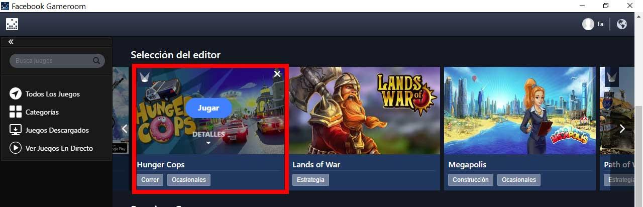 facebook gameroom seleccionar juego