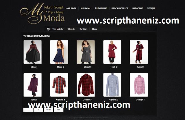 Moda ve Tekstil Scripti Ürünler Sayfası