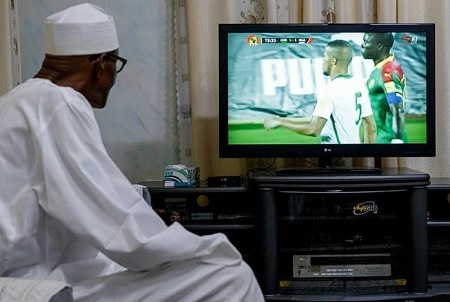 President Buhari watching the Return Leg of Nigeria-Cameroon World Cup Qualifier Match in Yaounde Cameroon from his home in Daura Katsina on 4th Sept 2017
