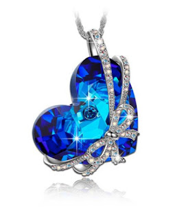 Pauline Morgen Love Gift Necklace for Women with crystals from Swarovski blue heart Jewellery Birthday gifts Valentines gift Mothers Day gifts Christmas gifts Anniversary Wedding Gift Wife Mother,christmas gifts,QSN5547