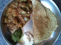 Sorghum Bottle gourd dosa,  Brinjal sambar,  Thutthi Coriander chutney,  Coconut Chutney