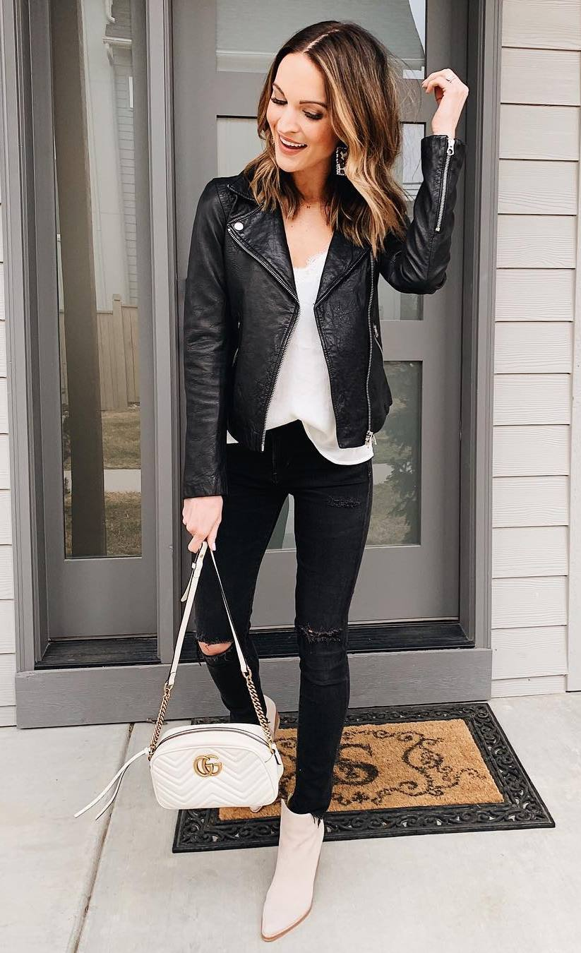 trendy spring outfit / leather jacket + top + black jeans + bag + ankle boots
