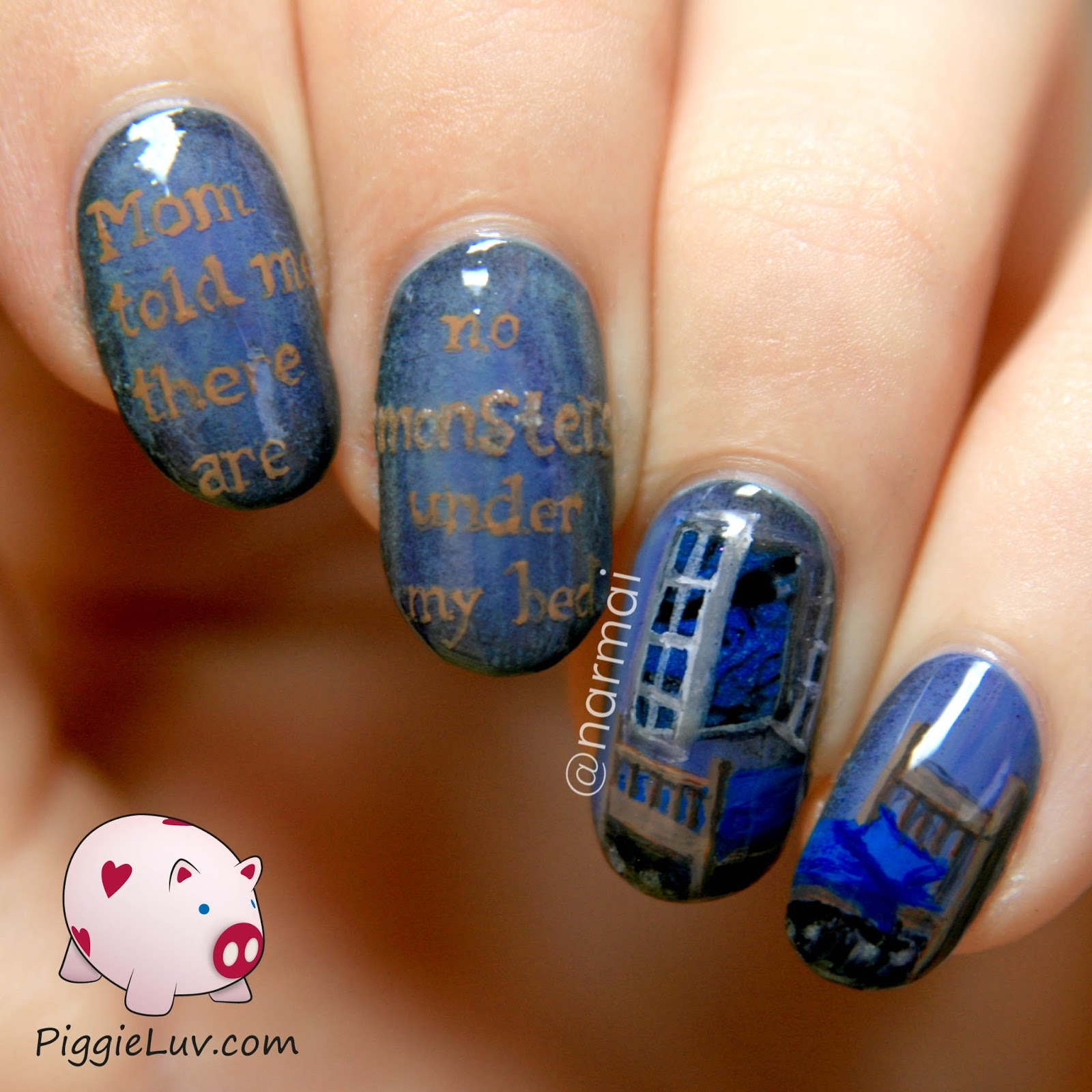 PiggieLuv: Monsters under the bed, glow in the dark nail art!