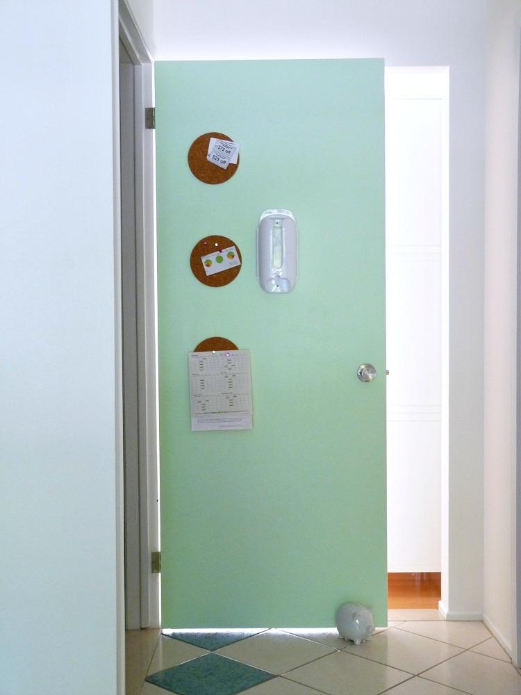 Mint interior door with cork trivet memo board
