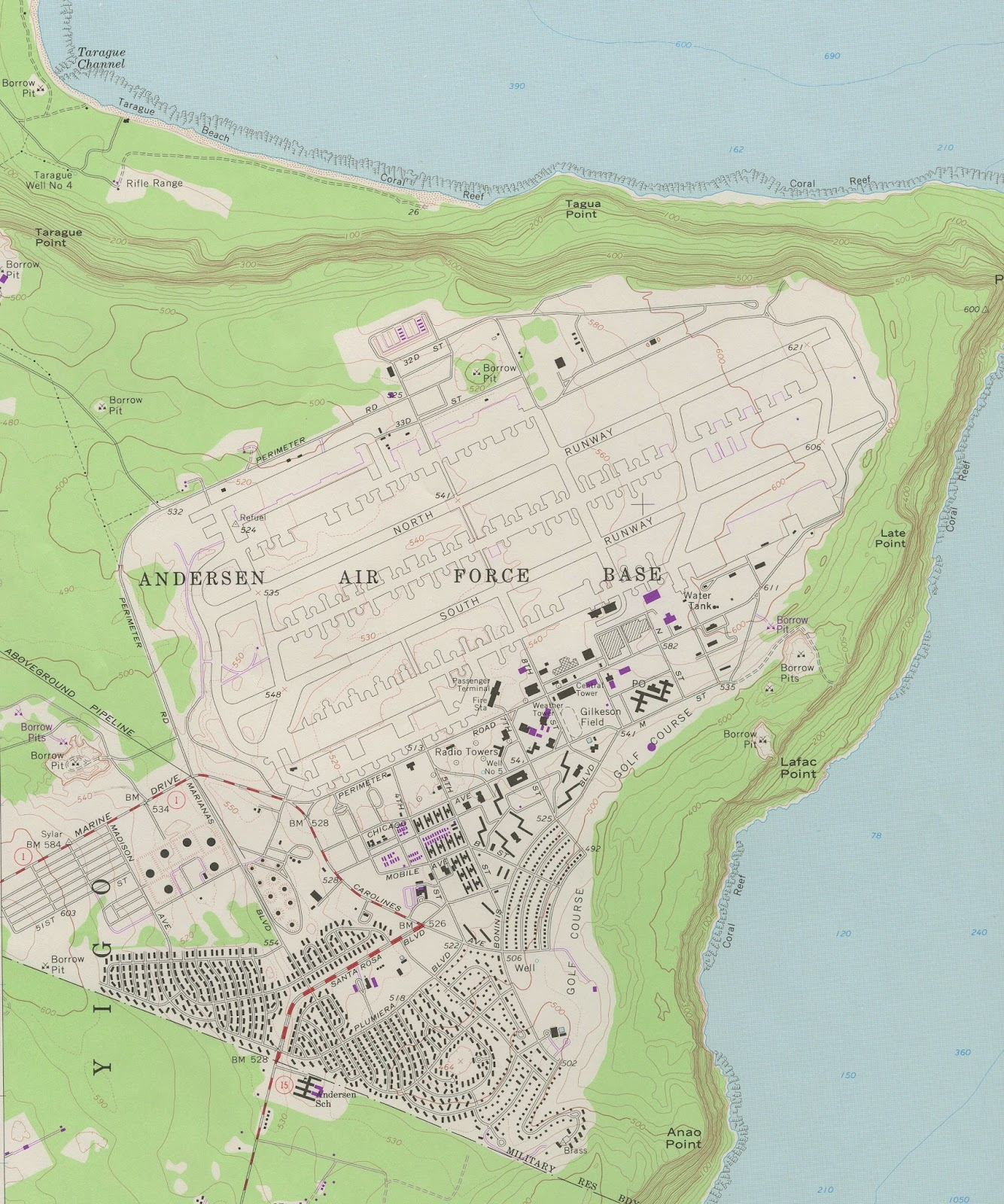 Gis research and map collection maps of guam available from ball 1975 usgs northeast guam gumiabroncs Choice Image