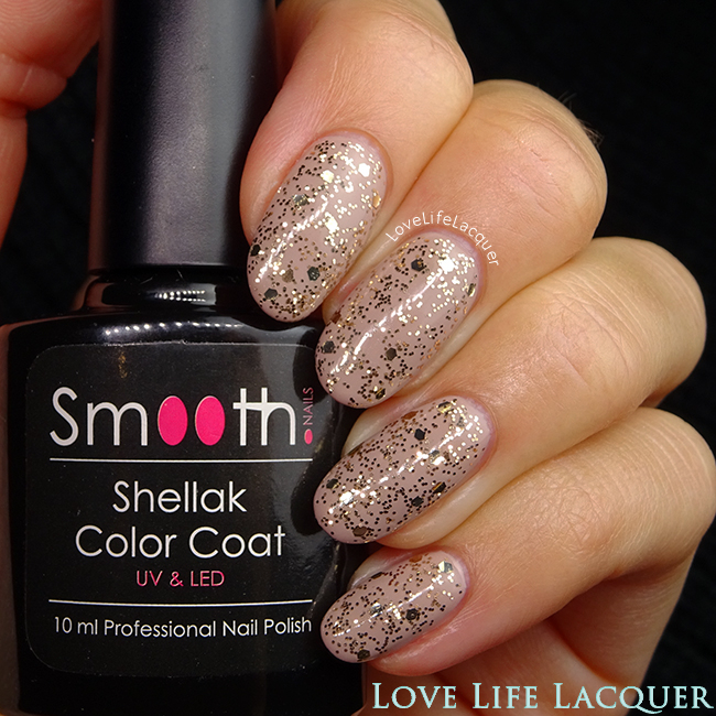 SmoothNails Gold Party glitter gel polish swatch