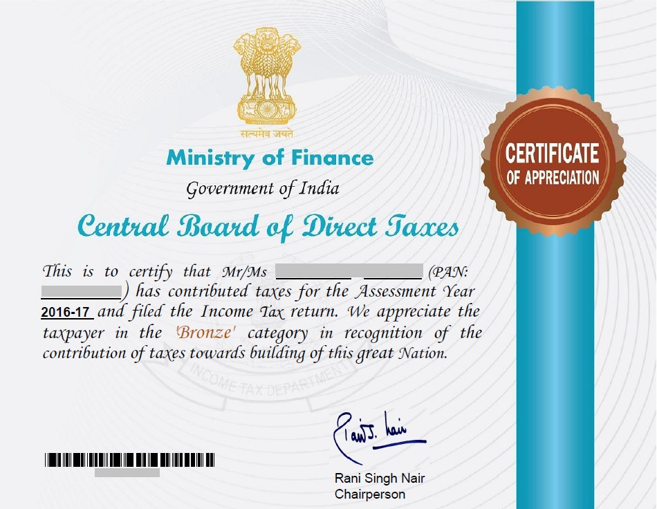 CBDT   Income Tax Department   Certificate Of Appreciation