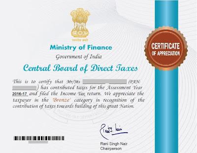 CBDT - Income Tax Department - Certificate of Appreciation