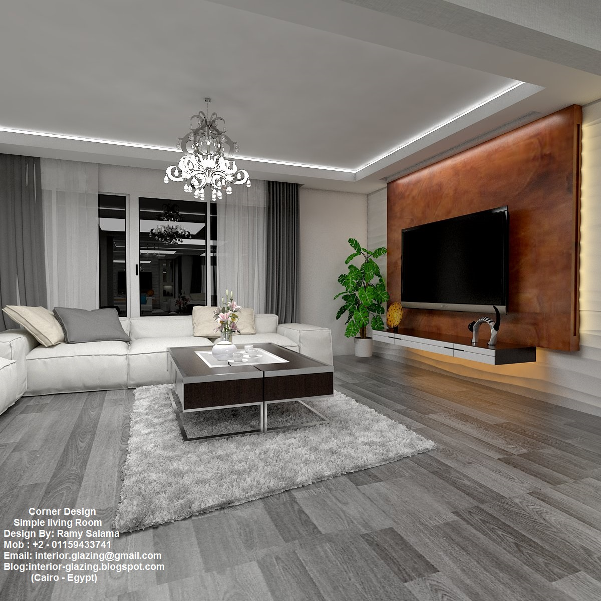 Corner design simple living room design by ramy salama for Simple living style