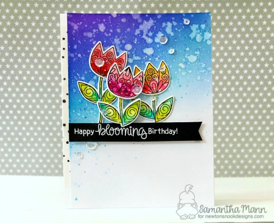 Happy Blooming Birthday Card by Samantha Mann | Beautiful Spring and Loads of Blooms Stamp Sets by Newton's Nook Designs #newtonsnook #handmade