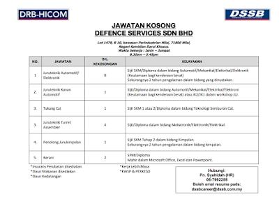Temuduga Terbuka bagi Defence Services Sdn. Bhd. di JobsMalaysia Negeri Sembilan pada 26 Januari 2018