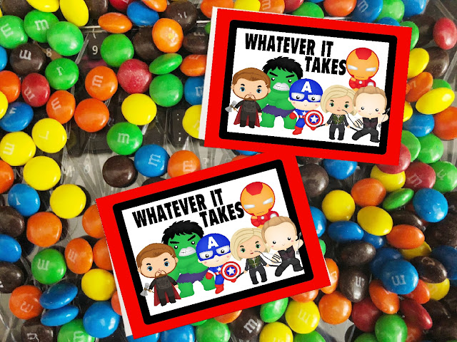 "Enjoy this fun printable bag topper at your Avengers Endgame movie showing or as a party favor for all your guests.  Just like Captain America and Black Widow, you will be able to do ""whatever it takes"" to save the universe with these sweet treats and printable bag toppers."