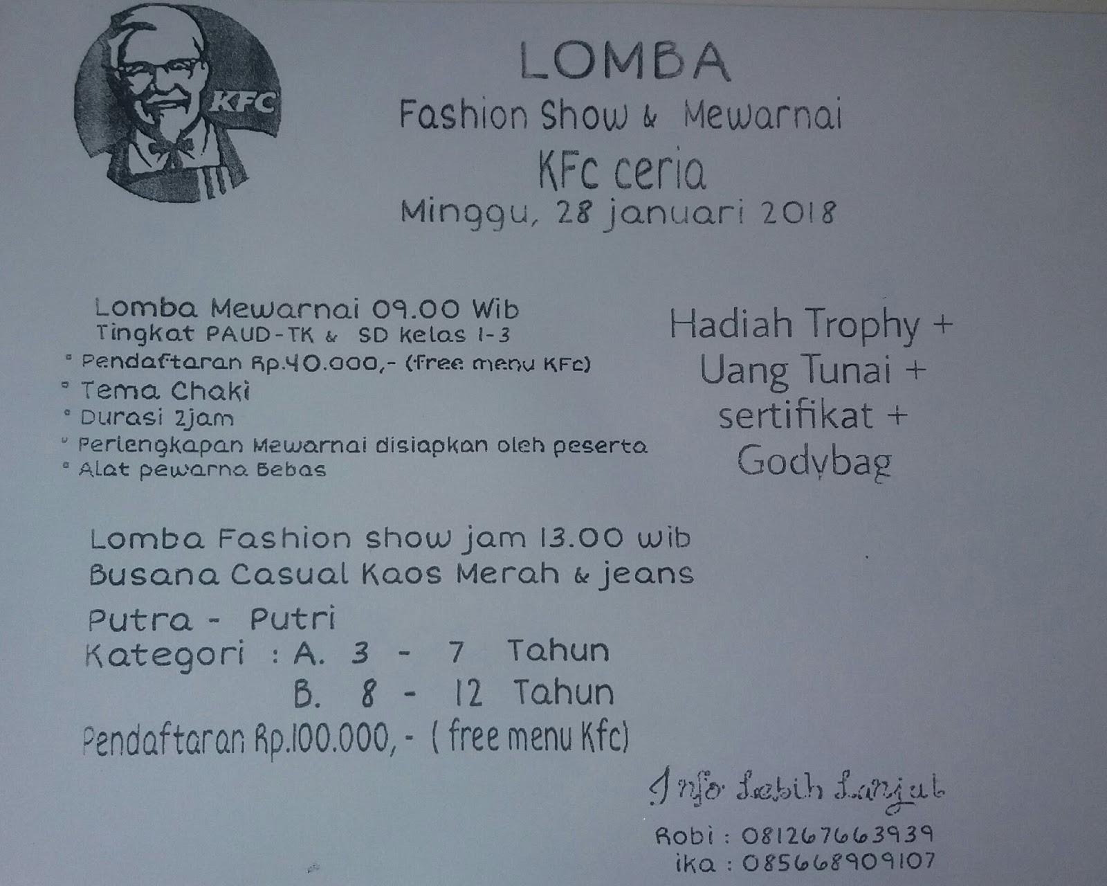 Blog Pasrah Setiawan Hia Lomba Mewarnai Dan Fashion Show Di Kfc