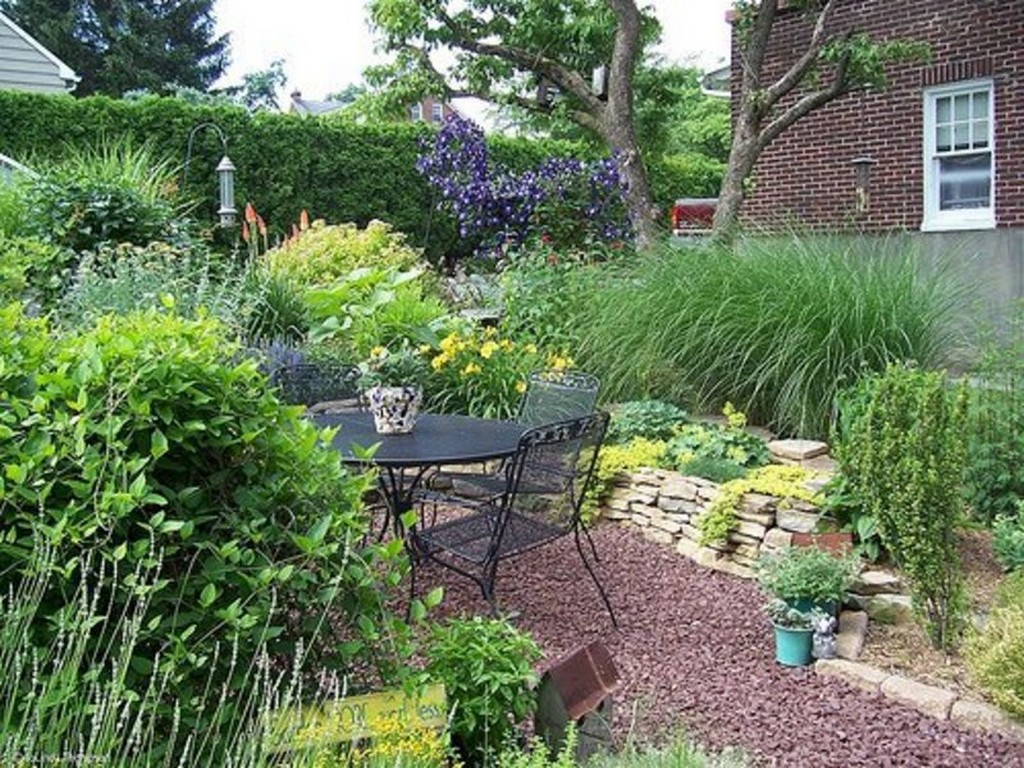 Landscaping Ideas Garage Area : Round black seating area interiors on the landscape small yard idea