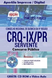 Apostila concurso CRQ-PR - Conselho Regional de Química da 9ª Região do Paraná - CRO IX PR.
