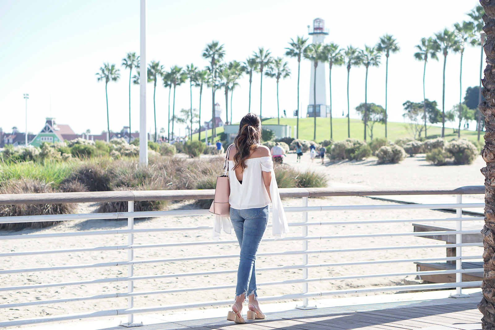 L.A. Finds, Long Beach Shoreline Aquatic Park, True Honest Fashion, Nasty Gal White Off the Shoulder Top, H&M High Waisted Jeans, Zara Beige Block Heel, Chanel Inspired Slingback heels, Calvin Klein Blush Pink Bag, Quay x Desi Perkins High Key Gold Sunglasses,