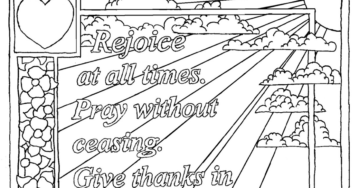 Coloring Pages for Kids by Mr. Adron: 1 Thessalonians 5:16