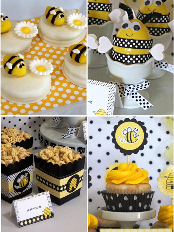 Honey Bee Birthday Party Desserts Table - via BirdsParty.com