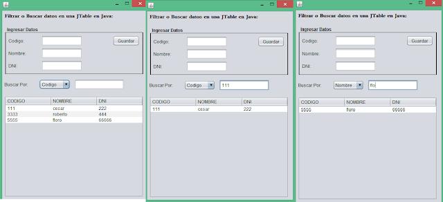 Filtrar o Buscar datos en una JTable en Java