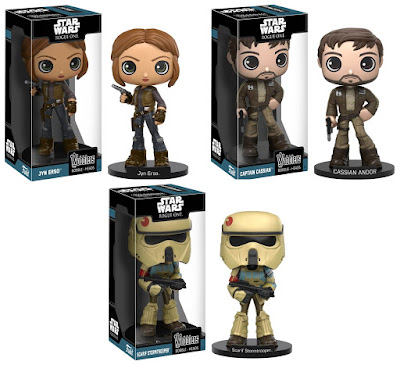 Star Wars: Rogue One Wobblers Bobble Heads by Funko - Jyn Erso, Captain Cassian & Scarif Stormtrooper