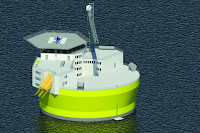 The proposed Offshore Floating Nuclear Plant structure is about 45 meters in diameter, and the plant will generate 300 megawatts of electricity. An alternative design for a 1,100 MW plant calls for a structure about 75 meters in diameter. In both cases, the structures include living quarters and helipads for transporting personnel, similar to offshore oil drilling platforms. (Illustration Credit: Jake Jurewicz) Click to Enlarge.